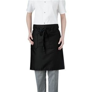 Black Mid Length Server Waiter Apron Two Pockets